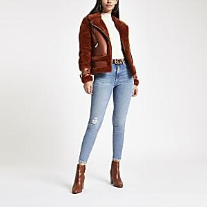 Middenblauwe skinny jeans uit de jaren 80 met hoge taille