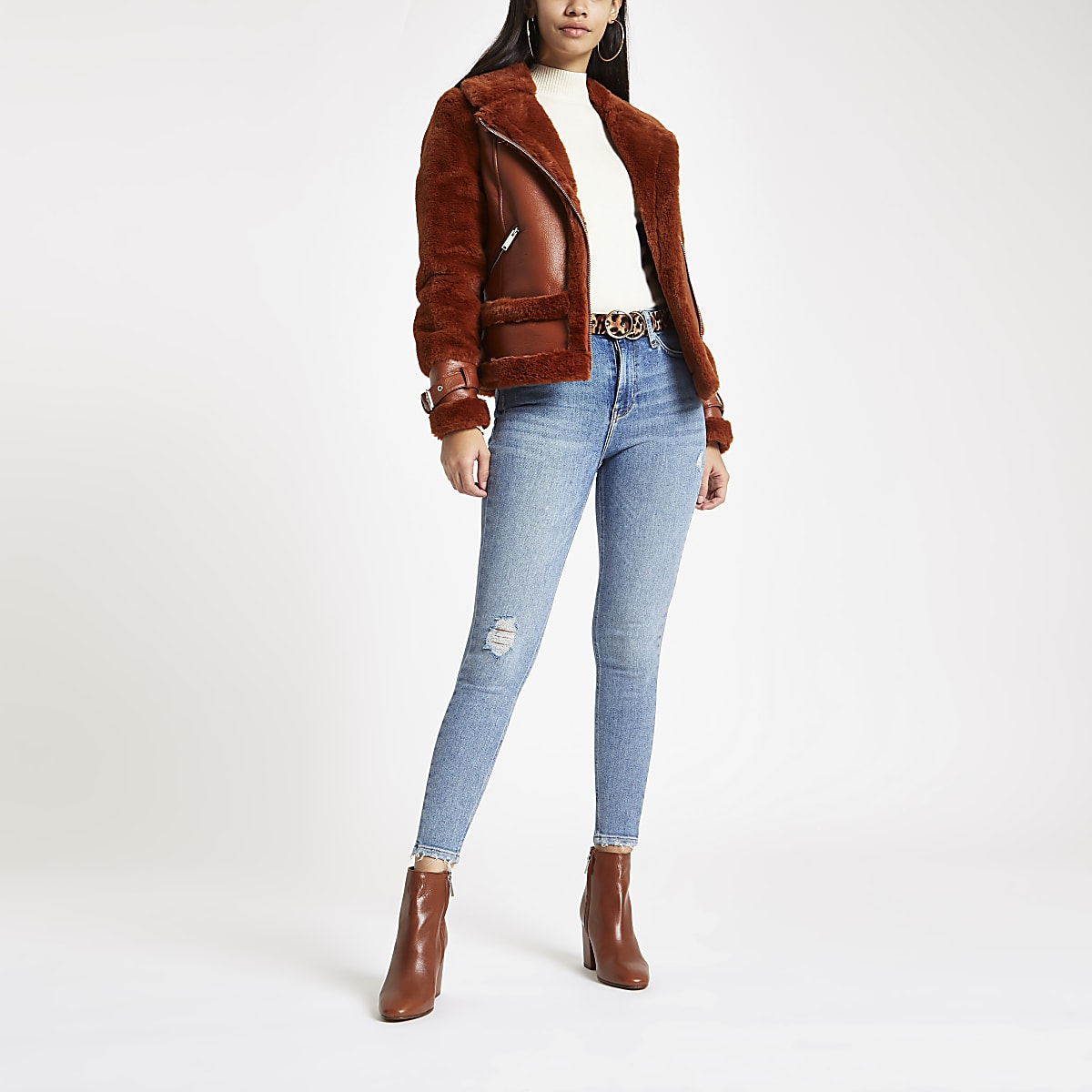 Skinny Jeans mit hohem Bund im 80er-Look