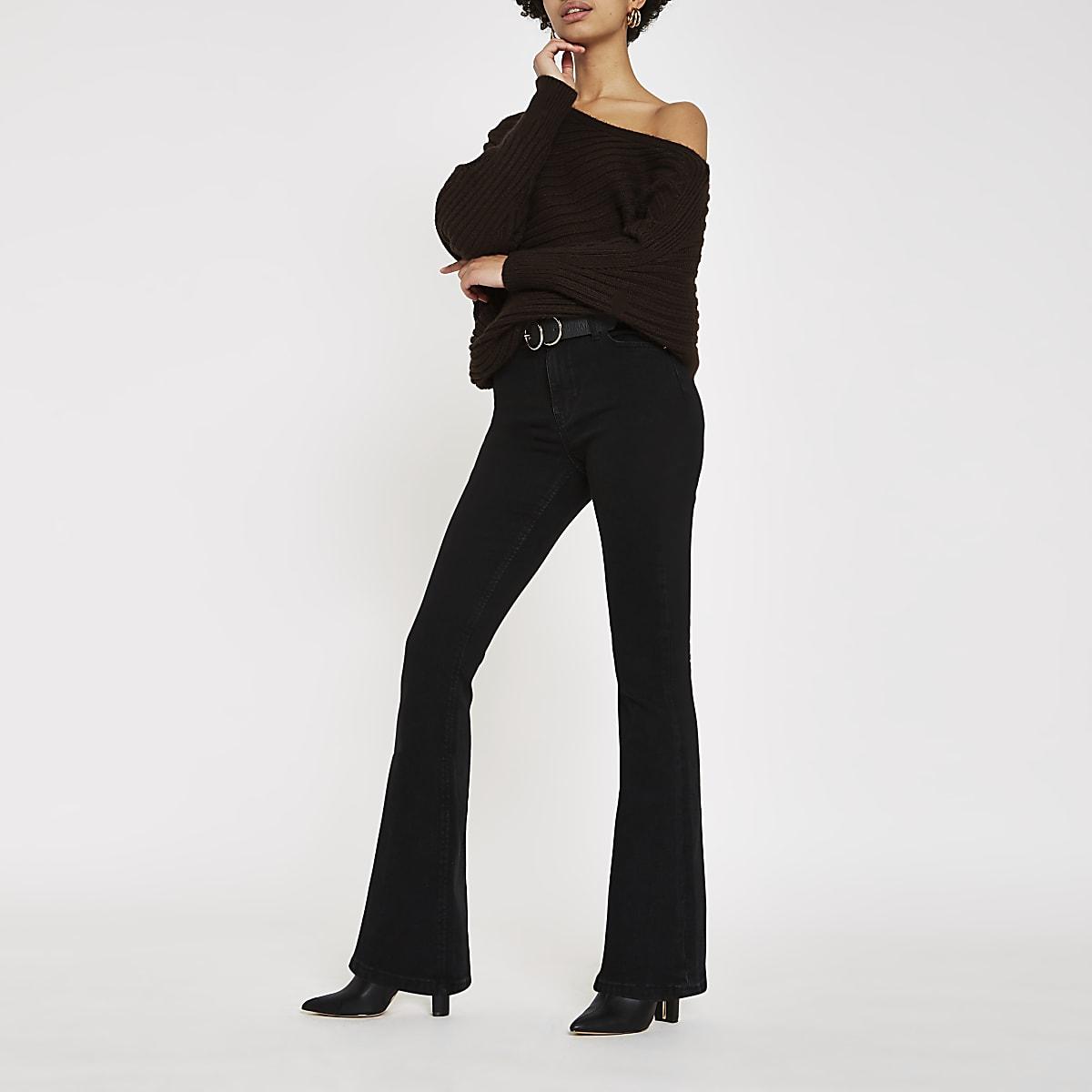 Zwarte wijduitlopende jeans met hoge taille