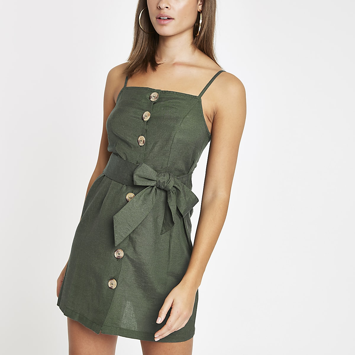 Green button detail tie waist beach dress