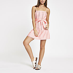 Pink lace trim tie waist beach dress