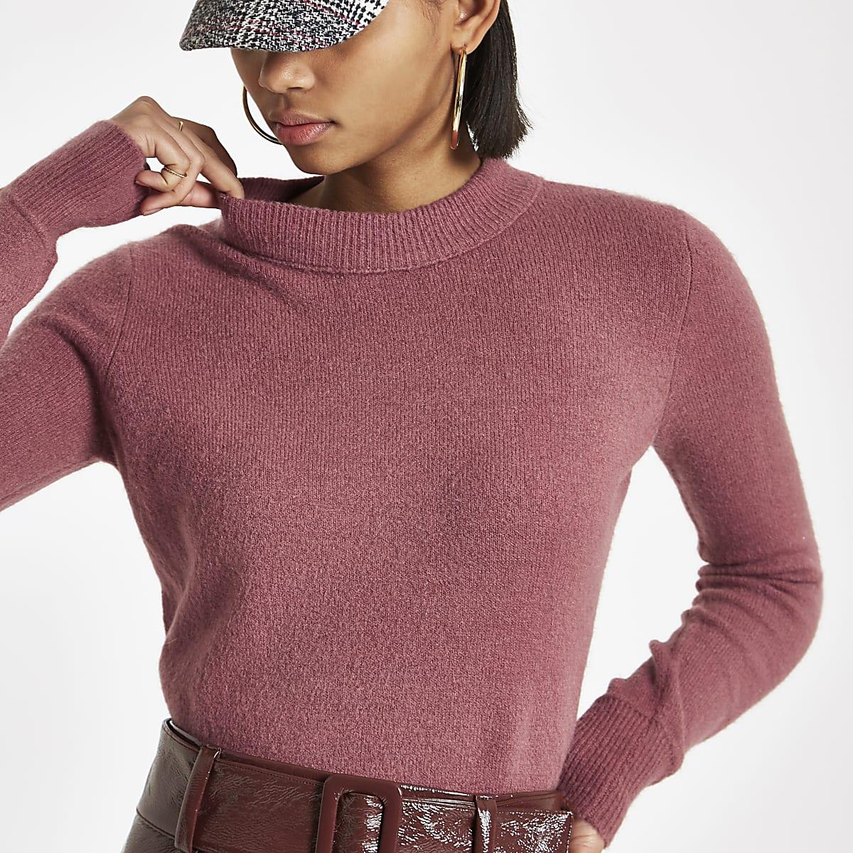 Pink knit asymmetric hem jumper