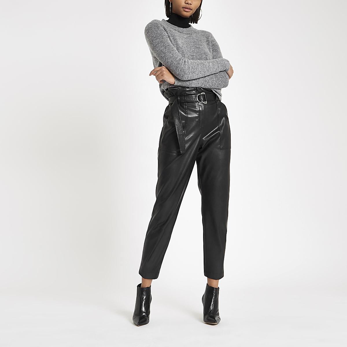 Grey knit asymmetric hem jumper