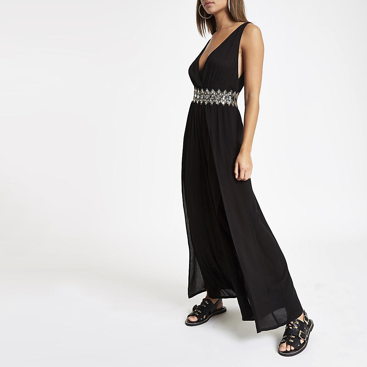fce6ce9e94d7f Black plunge diamante waist beach jumpsuit - Kaftans & Beach Cover-Ups -  Swimwear & Beachwear - women