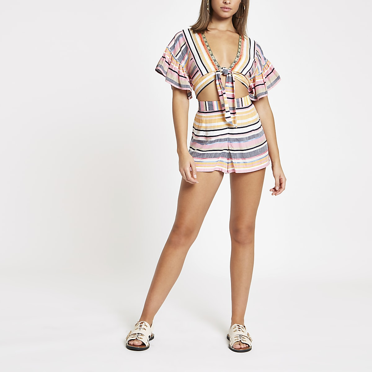 Pink stripe beach shorts
