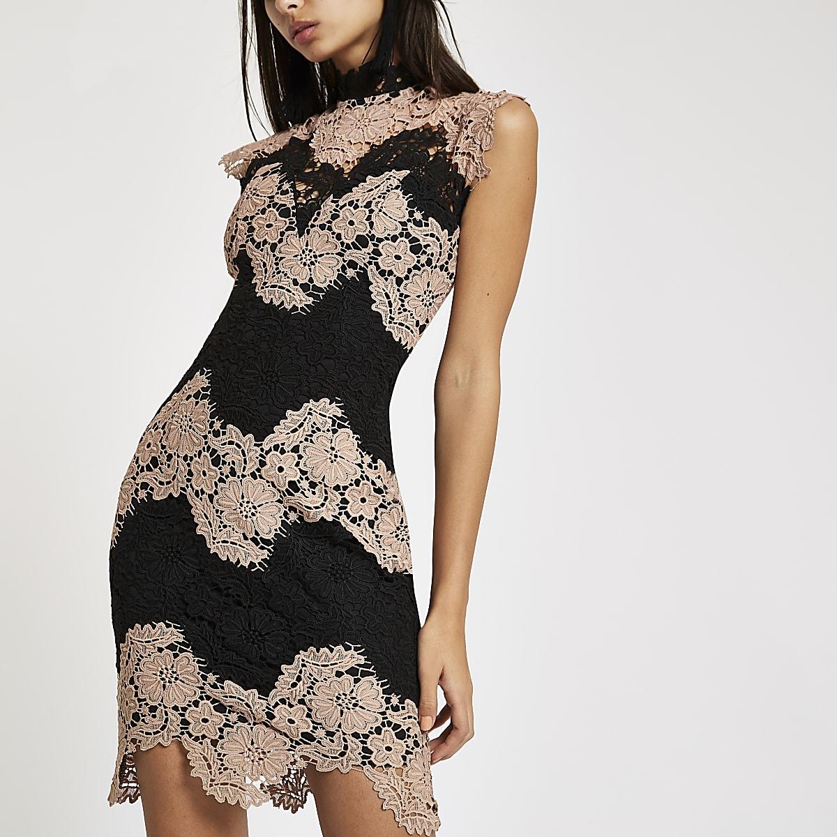 Forever Unique – Bodycon-Kleid aus Spitze in Schwarz und Nude