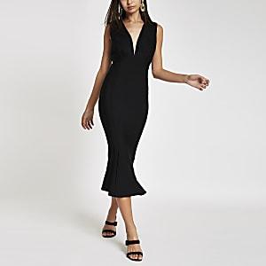 Forever Unique – Schwarzes, mittellanges Bodycon-Kleid