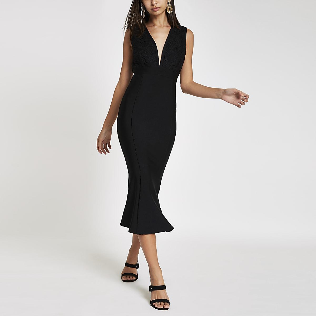 3a212ba5b0f0 Forever Unique black bodycon midi dress - Bodycon Dresses - Dresses - women