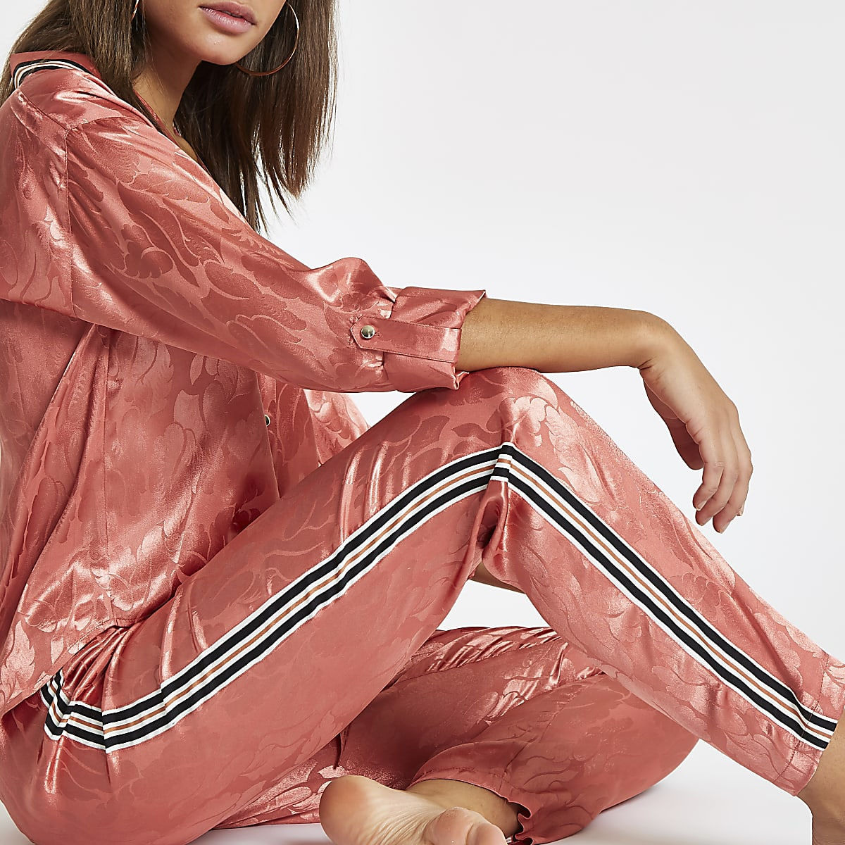 Pink jacquard tape side pyjama trousers