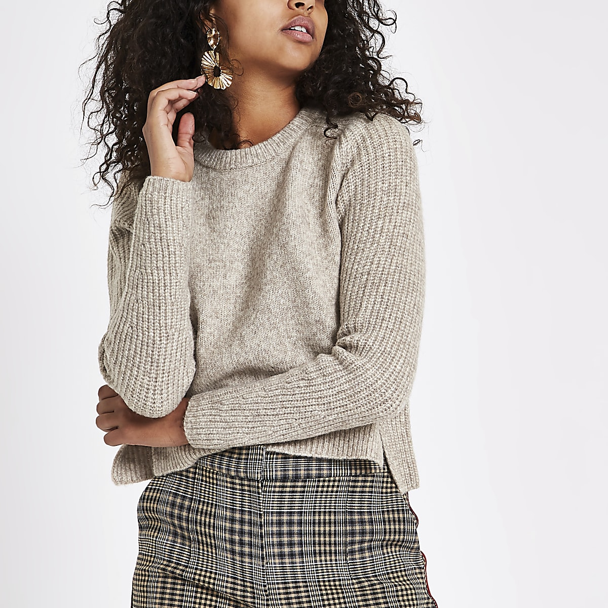 Light brown cropped crew neck sweater