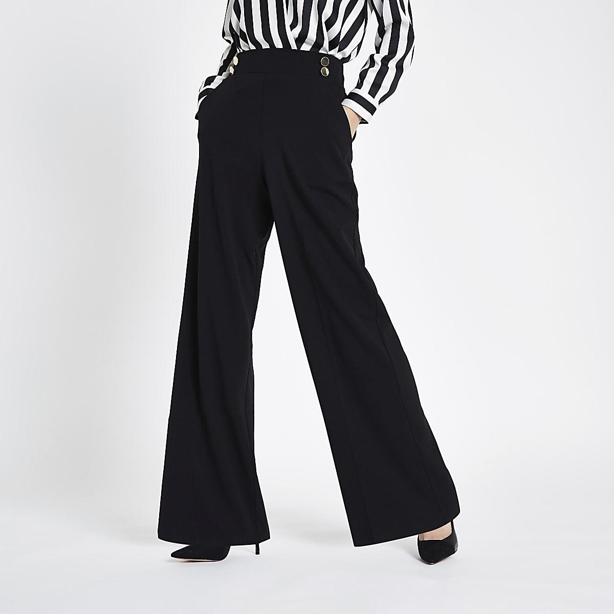 Pantalon large noir à deux boutons