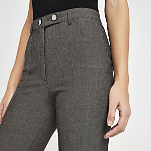 Grey herringbone high waist pants