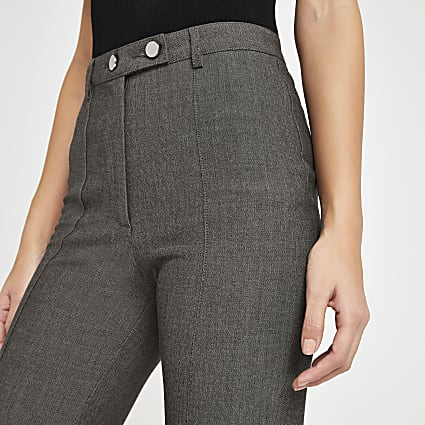 Grey herringbone high waist trousers