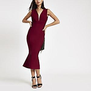 Forever Unique – Rotes, mittellanges Bodycon-Kleid