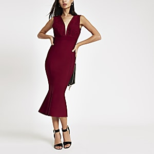 Forever Unique red peplum bodycon midi dress