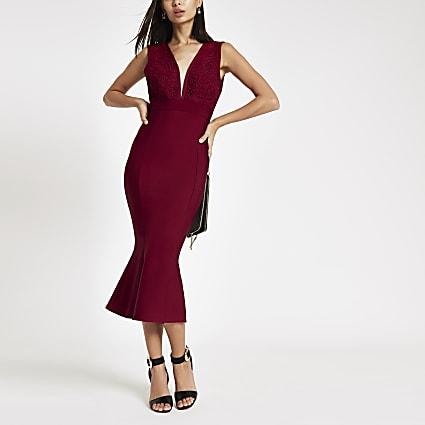 Forever Unique red peplum bodycon midi dress