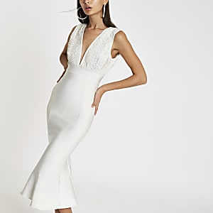 Forever Unique white bodycon midi dress