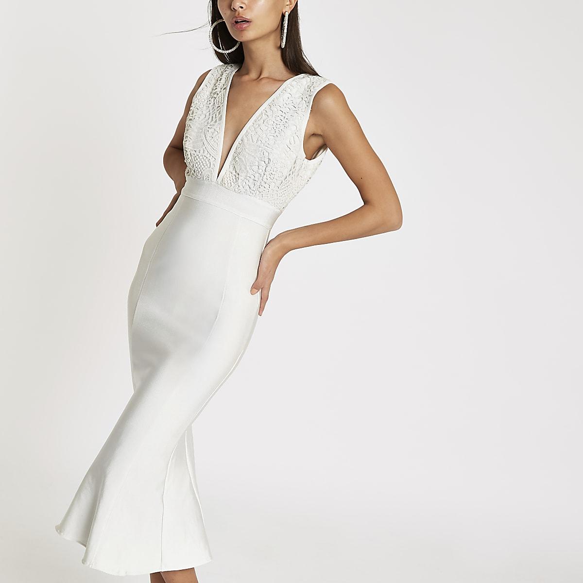 Forever Unique white bodycon midi dress