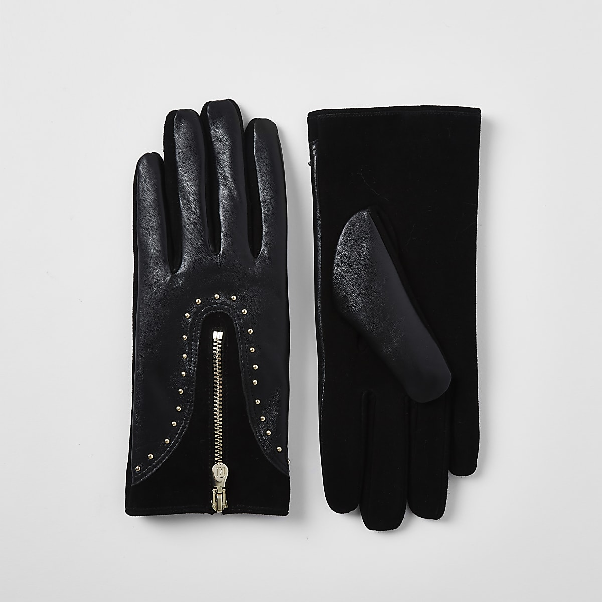 Black leather studded zip gloves