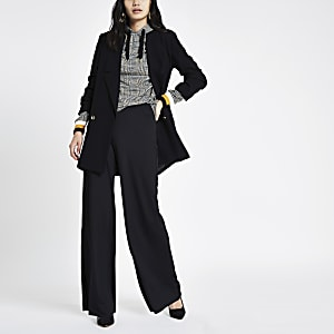 Black wide leg pull on pants