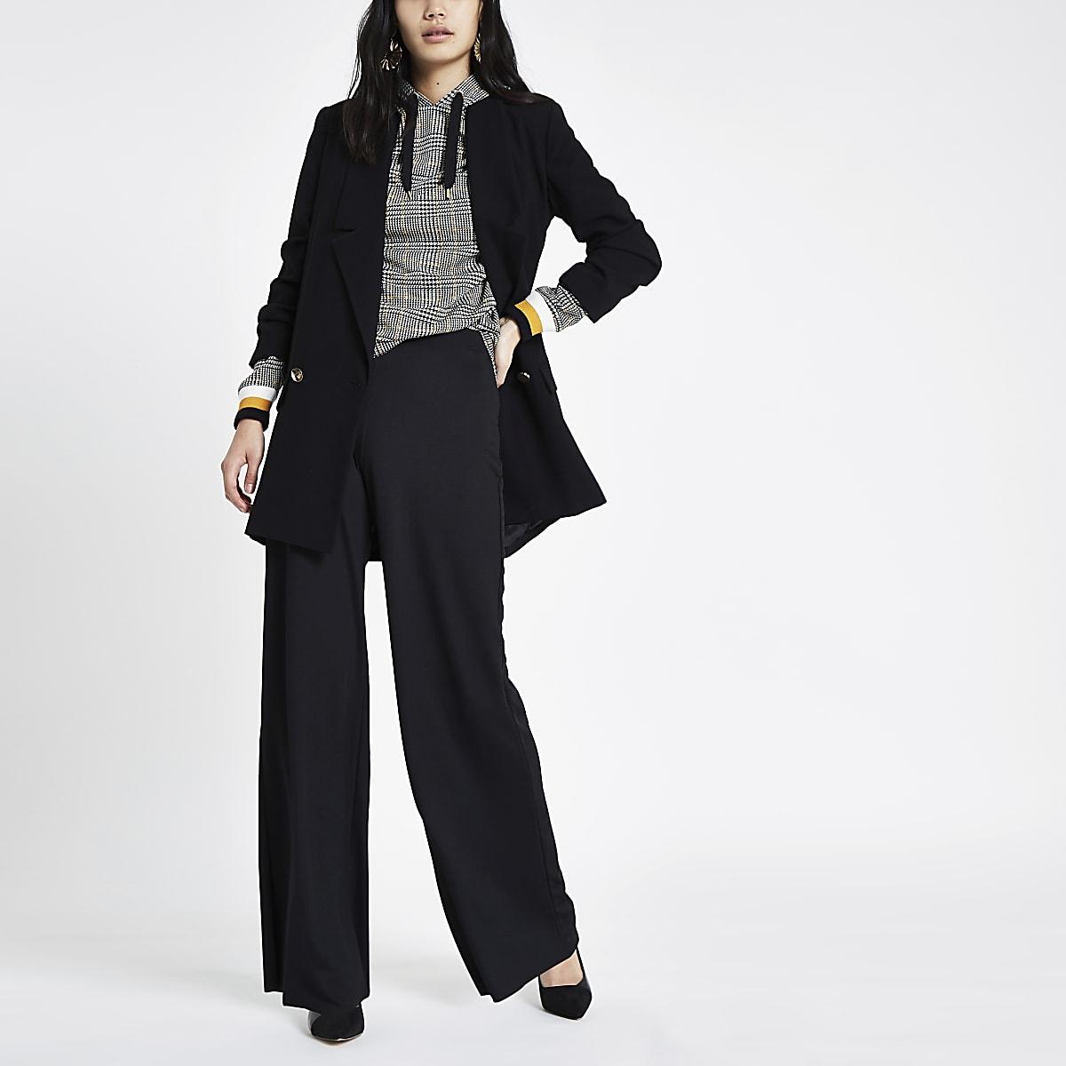 Zwarte broek met wijde pijpen en elastiek