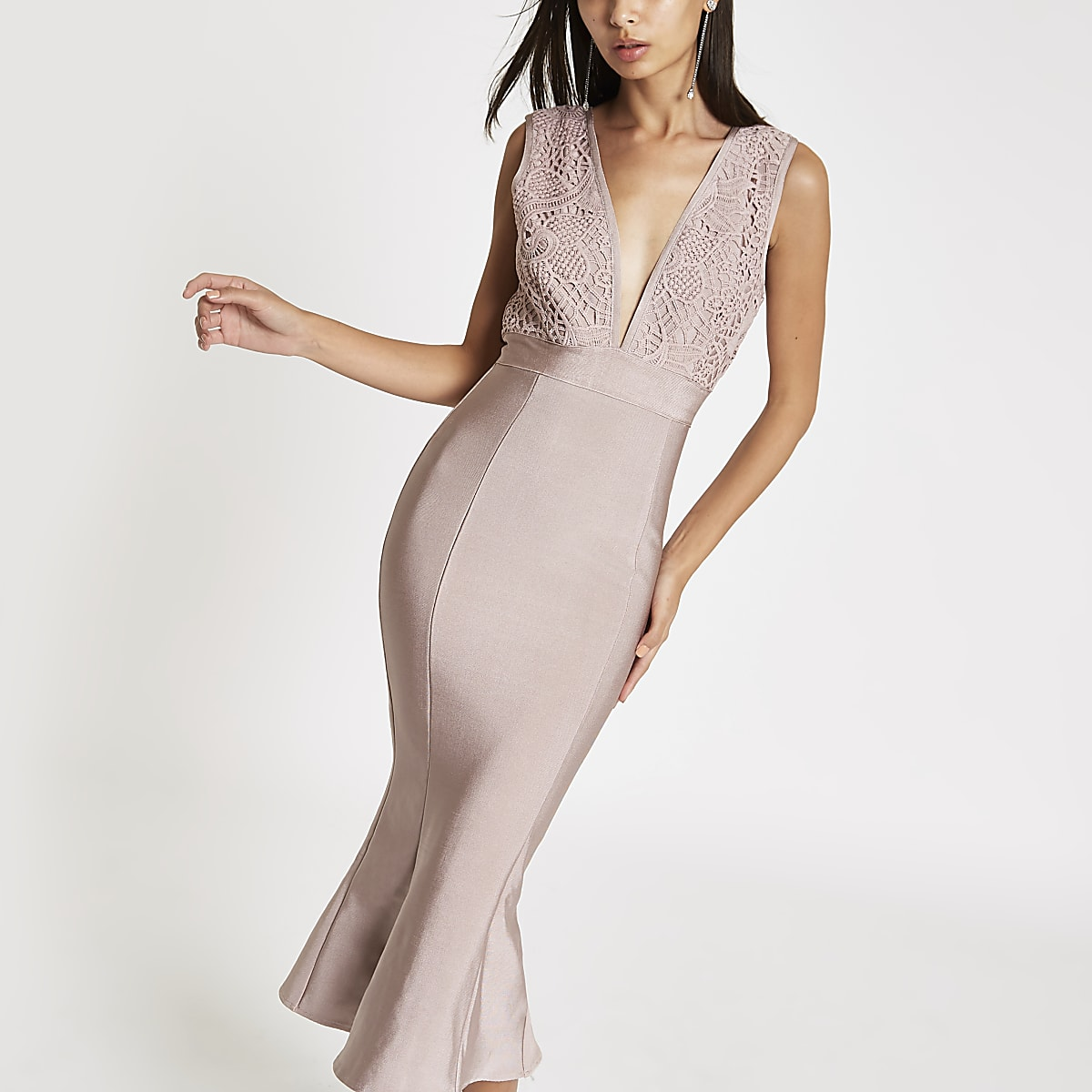 Forever Unique pink peplum bodycon midi dress