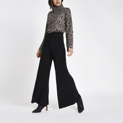 Black tie front wide leg trousers