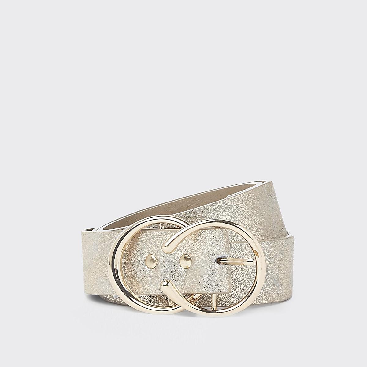 Gold glitter double ring jeans belt