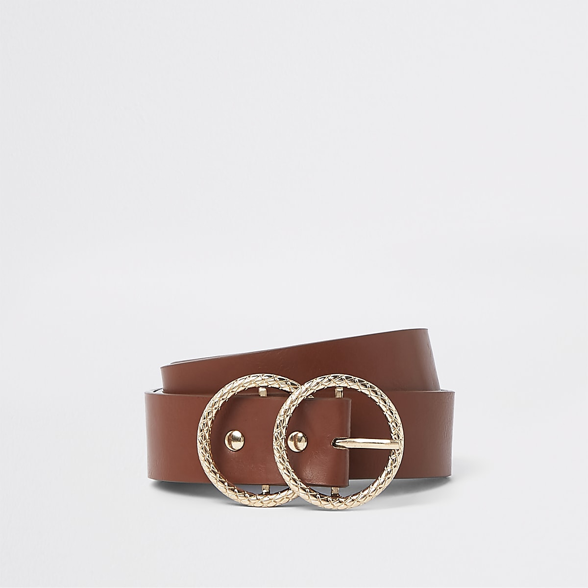 Tan textured double ring buckle jeans belt