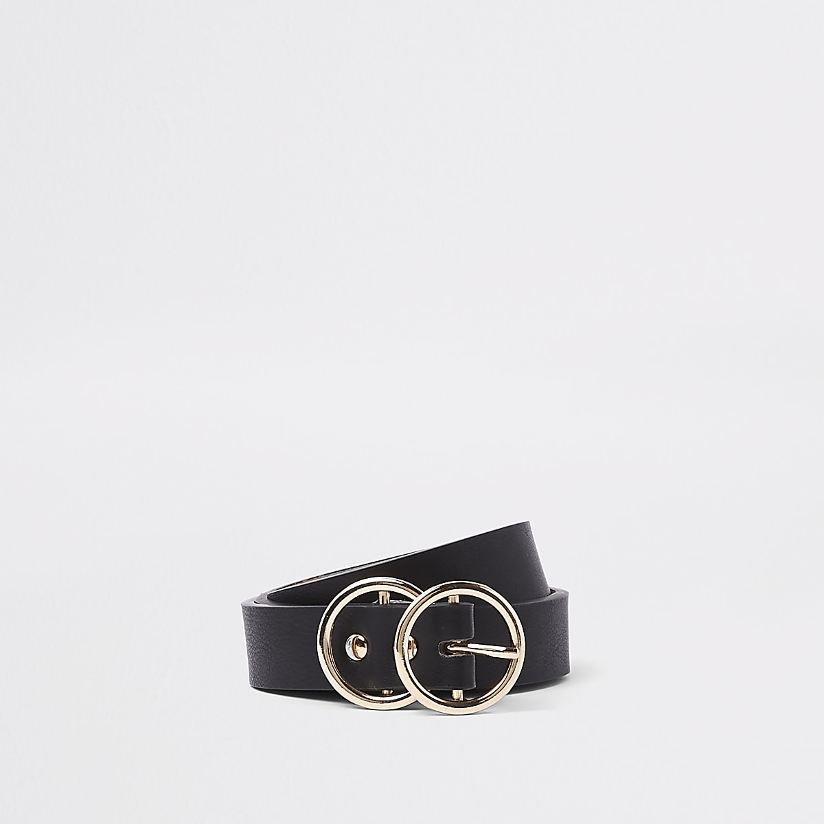 Black double ring mini jeans belt