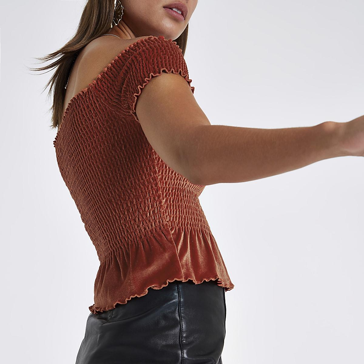 1357526a5bee52 Dark red velvet bardot crop top - Bardot / Cold Shoulder Tops - Tops - women