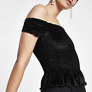Black velvet shirred bardot crop top