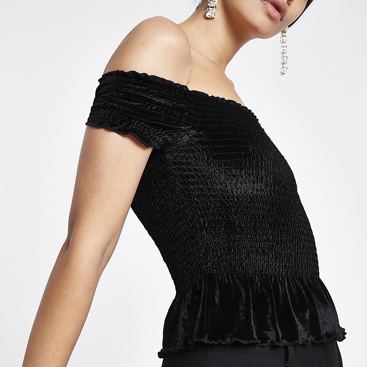 f6b2832a092b32 Black velvet shirred bardot crop top - Bardot / Cold Shoulder Tops - Tops -  women