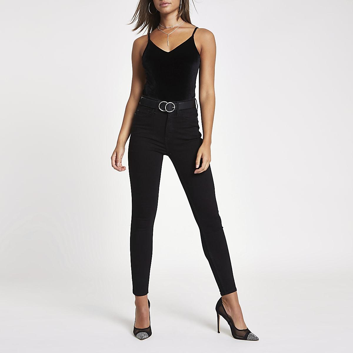 Black velvet V neck cami bodysuit