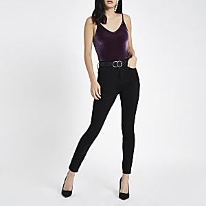 Purple velvet V neck cami bodysuit
