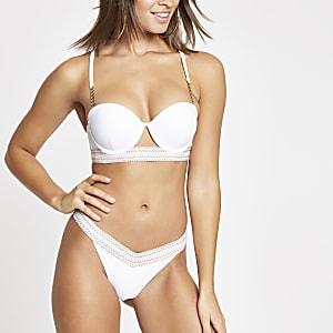White elastic trim high leg bikini bottoms