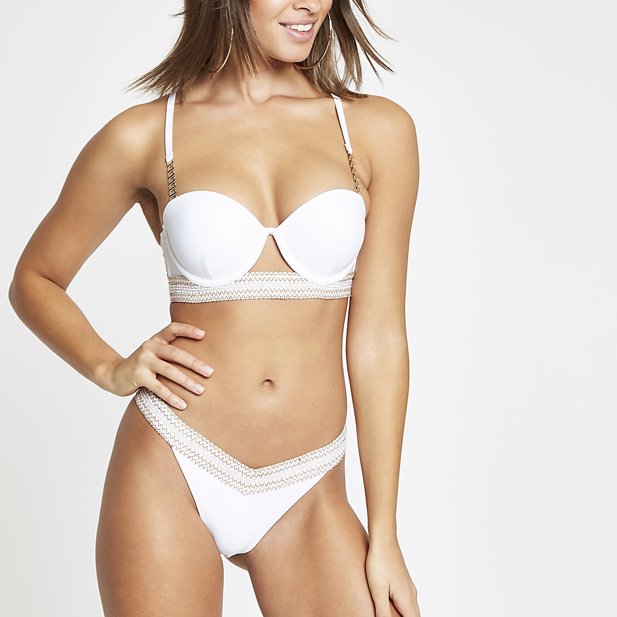 White elastic trim high leg bikini bottoms