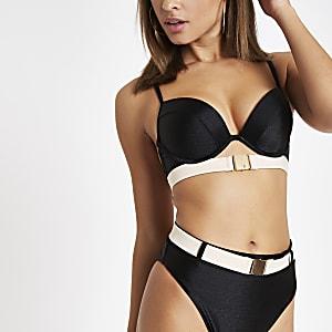 Zwarte diep uitgesneden bikinitop mmet ceintuur
