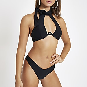Black high leg bikini bottoms