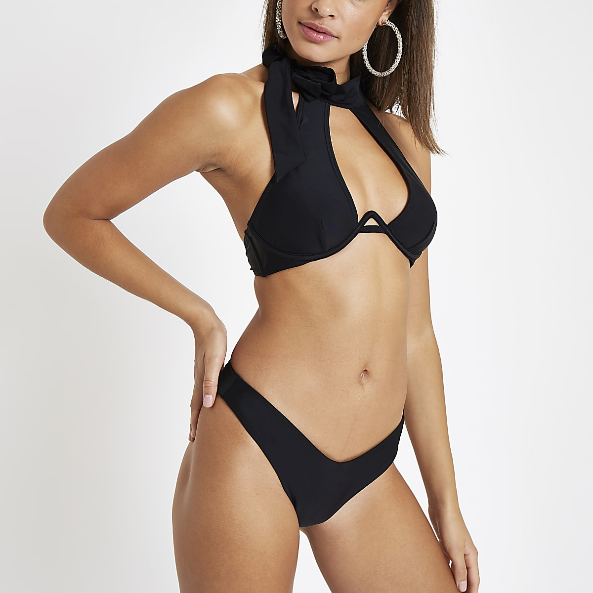 53eb1a660a Black halter neck bikini top