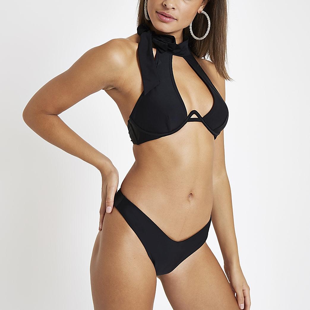 Zwarte bikinitop met halternek