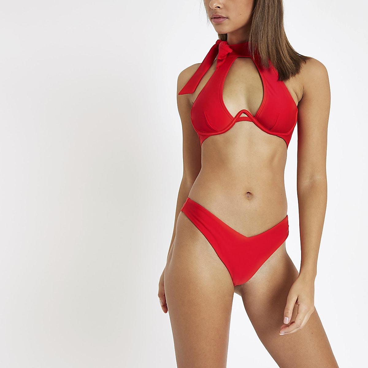 Red halter neck underwired bikini top