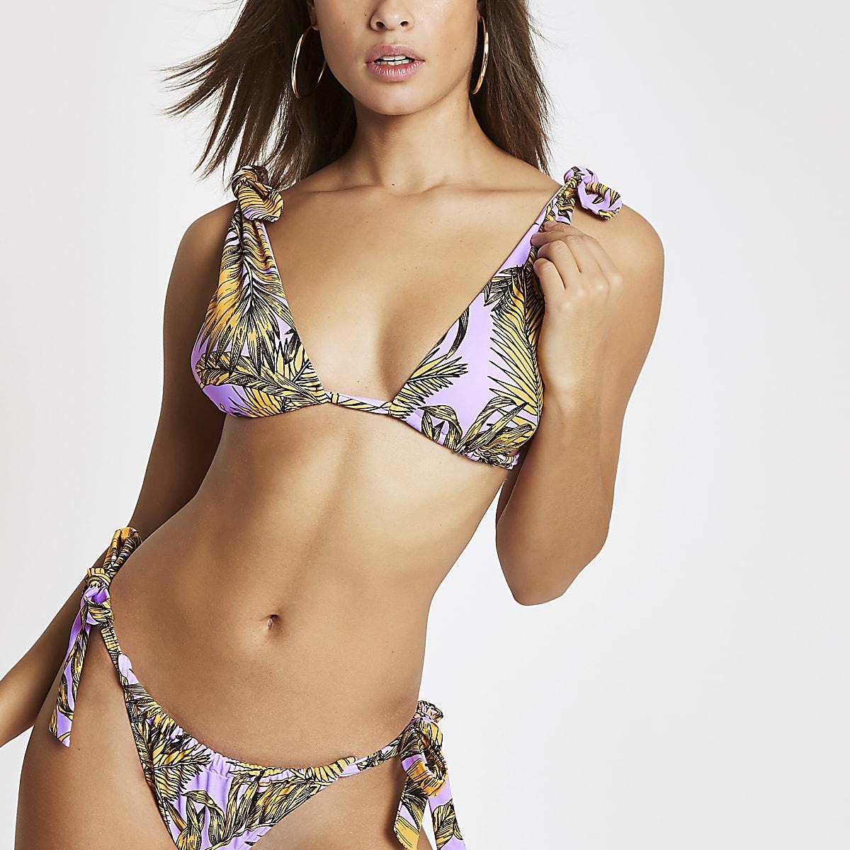 Paarse triangel-bikinitop met bloemenprint en strik