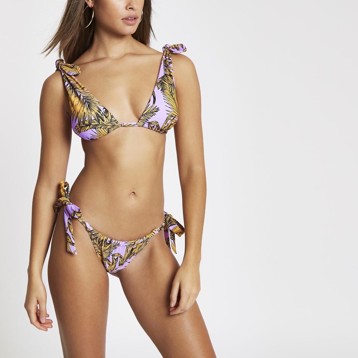 Purple floral low rise bikini bottoms