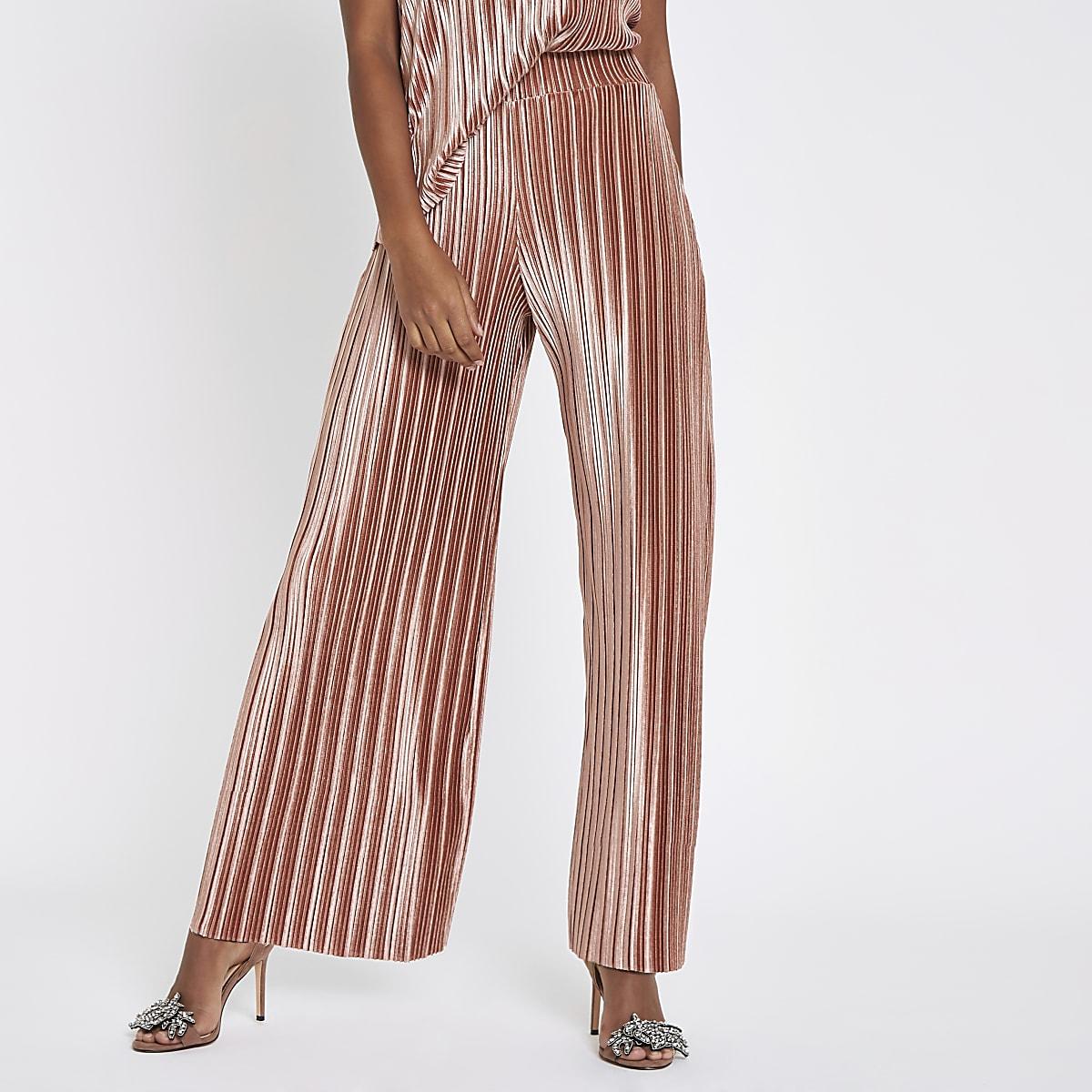 Pink velvet plisse wide leg trousers