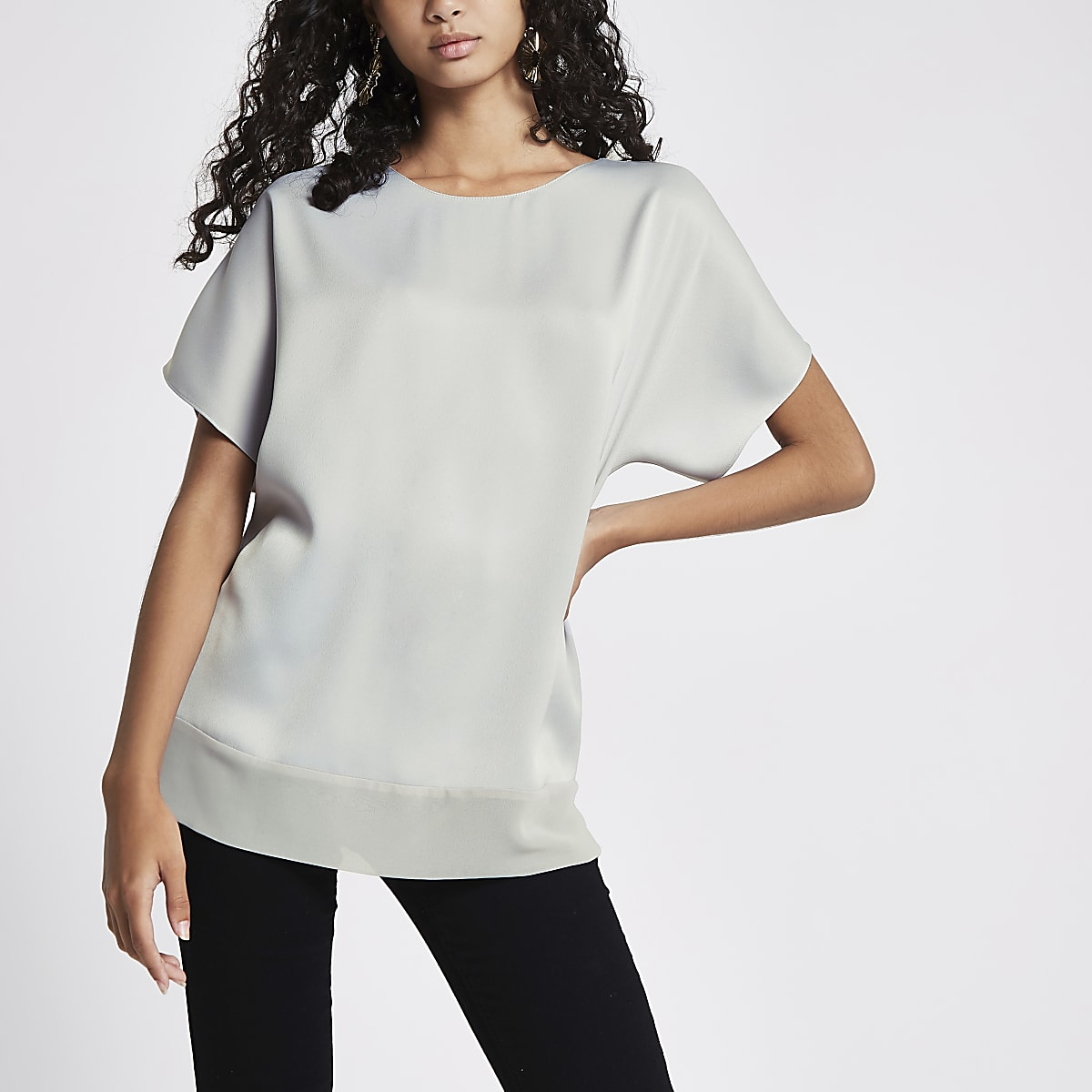 Grey sheer hem T-shirt