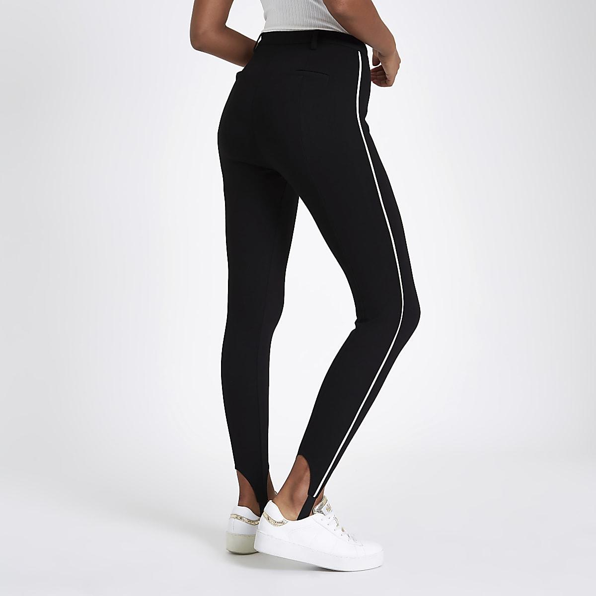 0e459ddcfb78 Black stripe side stirrup leggings - Skinny Trousers - Trousers - women