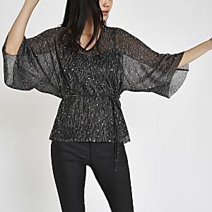 Black plisse sequin kimono sleeve top