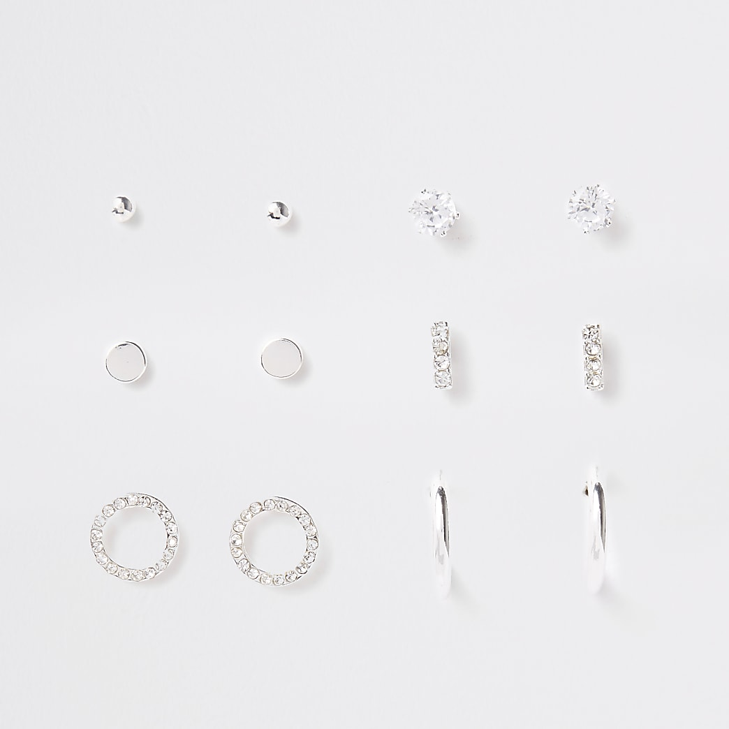 Silver colour diamante stud multipack