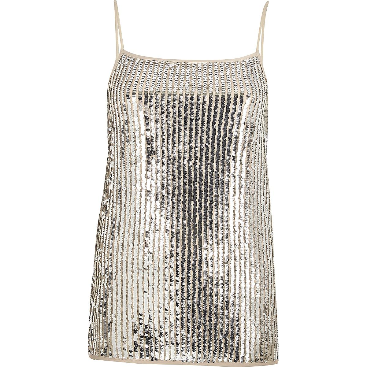c80f27b4f1c387 Silver sequin cami top - Cami   Sleeveless Tops - Tops - women